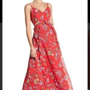 Anthropologie S  Hummingbird red floral Maxi Dress